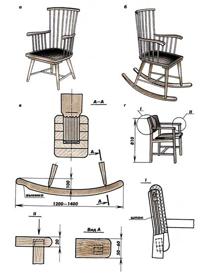 Кресло-качалка 20048 в коже