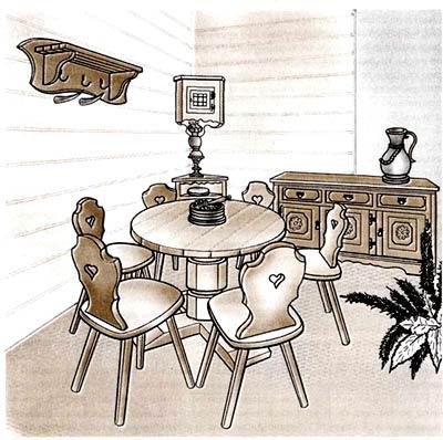 Набор мебели для оборудования обеденной зоны с использованием обеденного стола