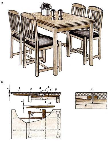 Столы обеденные с прямоугольным (а) или квадратным (б) подстольем