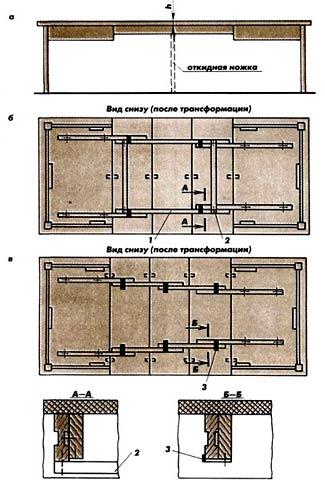 Стол обеденный с раздвижными крышками и раздвижным подстольем