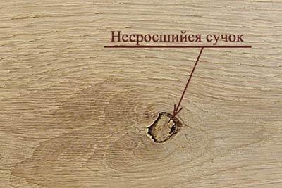 Пороки древесины. Несросшийся сучок
