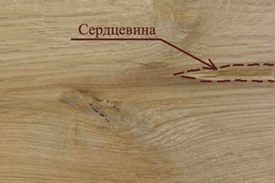 Пороки древесины. Сердцевина